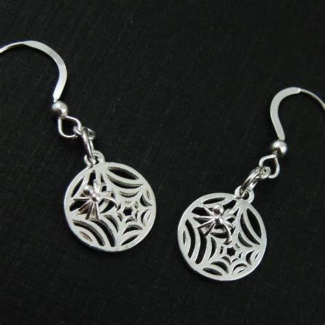Earrings Sterling Silver sterling silver spider web earrings earrings