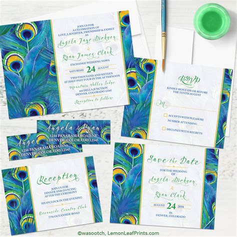 Peacock Wedding Invitations by Simplicity Peacock Wedding Invitation Sets