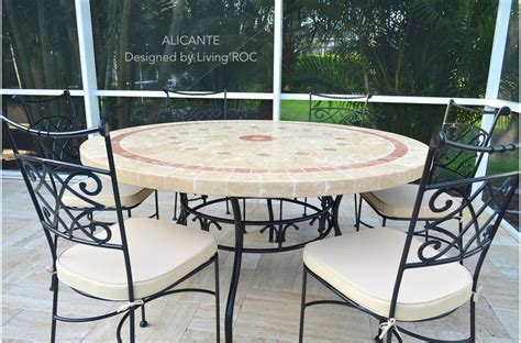 Marble Patio Table 48 Quot 60 Quot Outdoor Garden Patio Mosaic Marble Dining Table Alicante