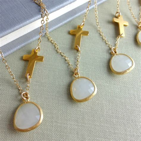 set of 4 personalized sideways cross necklaces
