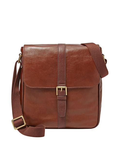 fossil leather satchel bag in brown for cognac lyst