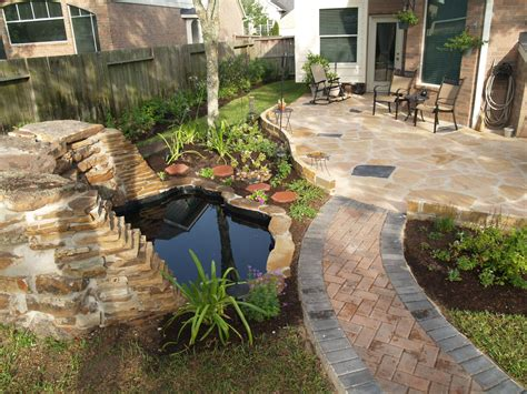 Simple Backyard Landscaping Ideas Small Spaces Easy And Simple Backyard Landscaping House Design With Small Ponds Brick Walkway