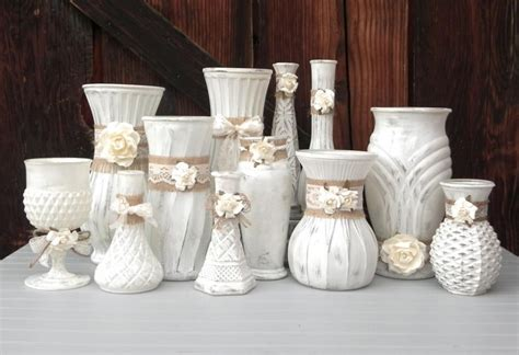 shabby chic burlap and lace cream white vase collection vases for wedding decor shower