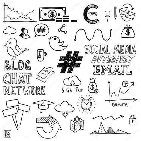 sign in for doodle draw social media sign and symbol doodles elements