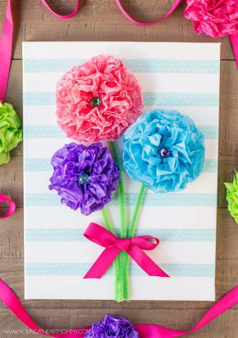 How To Make Tissue Paper Bouquet - tissue paper flower bouquet canvas tutorial s day