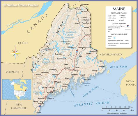 map maine reference map of maine usa nations project