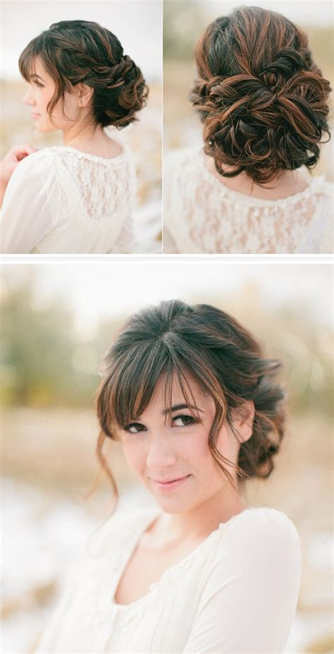 Wedding Guest Hairstyles With Bangs by Updo Hairstyles With Bangs For Weddings Medium Haircut