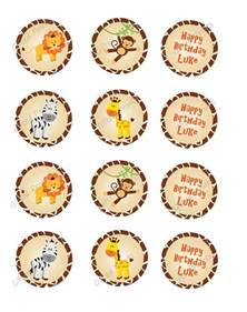 Customizable Wall Stickers cupcake topper jungle safari theme
