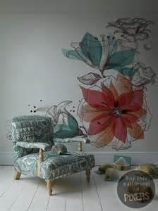 Wall Murals Flowers Flowers Wall Mural Inspirations Pixersize Com