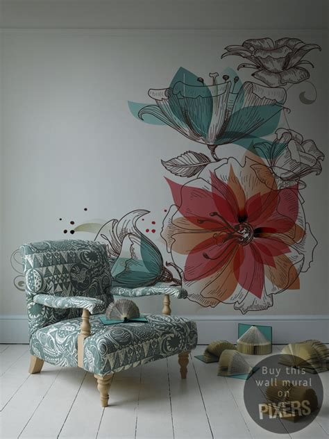 flower design for wall painting flowers wall mural inspirations pixersize com