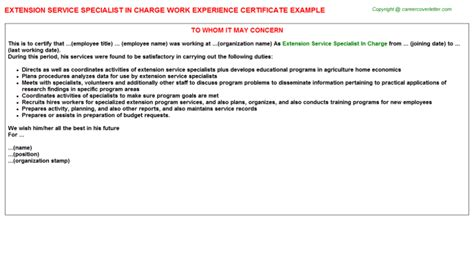 Service Extension Letter Telecommunications Engineering Specialist Work Experience Certificates