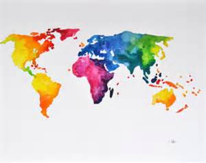 colorful world colorful world map etsy