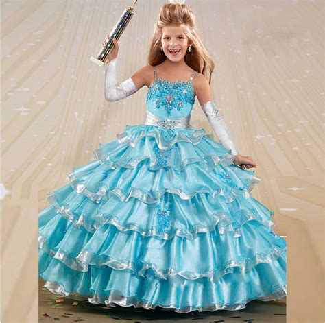 little girl beauty pageant dresses beauty lovely tiered white blue ball gown little girls