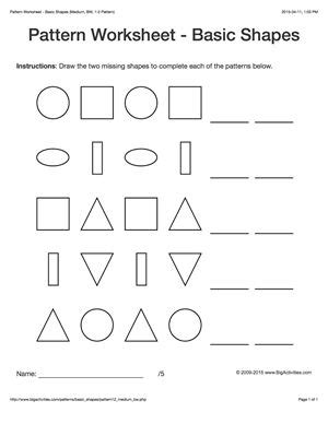 pattern activities stage 2 pattern worksheets for kids black white basic shapes