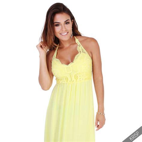 Halter Maxi Sundress womens plunge halter neck maxi summer dress