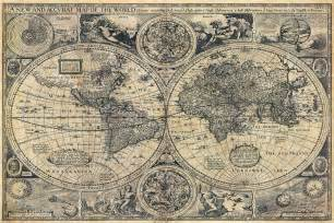 large historic 1626 map of the world antique style