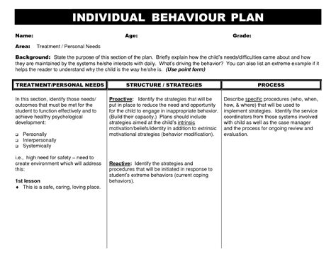 individual student plan template 10 best images of individual behavior chart template