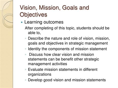 objectives of mission statement strategic management 5