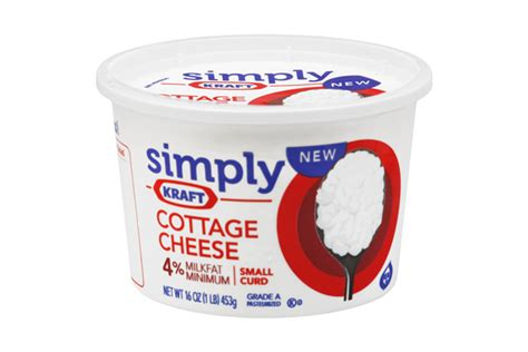 kraft cottage cheese simply kraft small curd 4 milkfat minimum cottage cheese