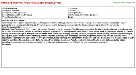 Recreation Leader Cover Letter by Recreation Facility Manager Cover Letter Sle
