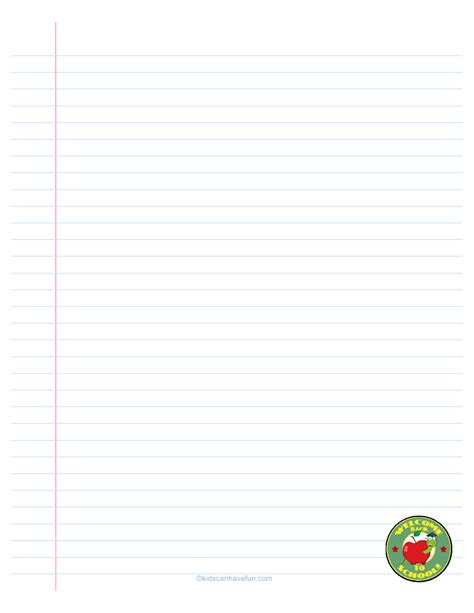 printable lined school paper welcome back to school lined paper back to school
