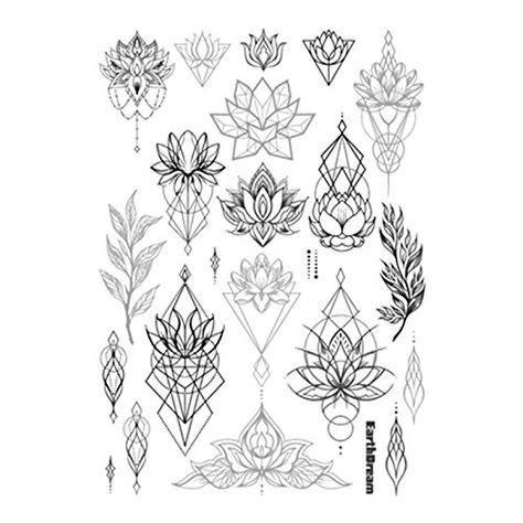 Diskon Temporary Flower Black N Grey set of 2 waterproof temporary stickers vintage black grey geometric lotus floral big