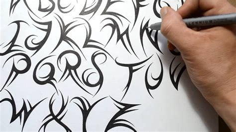tribal lettering a z how to draw a tribal font youtube