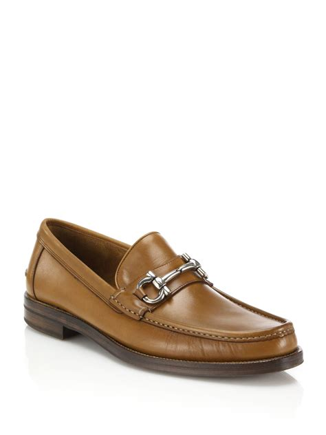 loafers ferragamo ferragamo loriano leather bit loafers in brown for lyst