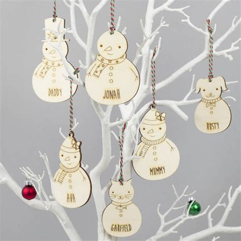 personalised decorations snowman family personalised decorations by we