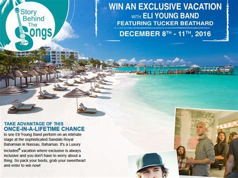 sandals resorts gift certificates sandals resorts story the songs flyaway sweepstakes