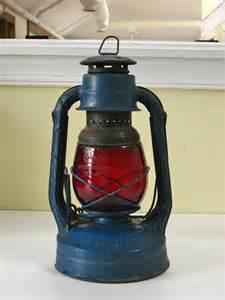 Blue Ceramic Vase Vintage Dietz Railroad Lantern Little Wizard By