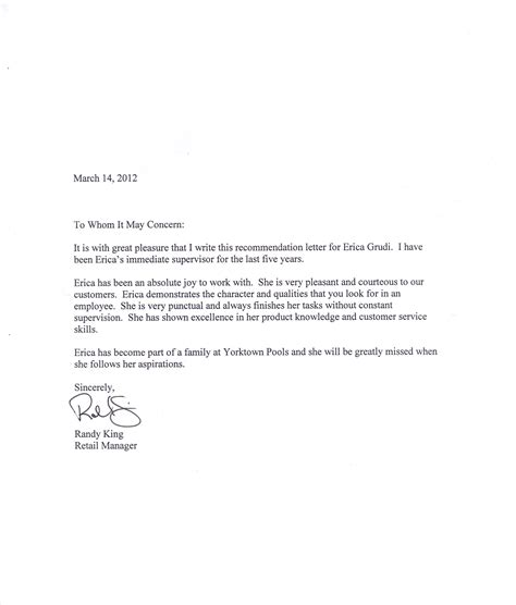 Recommendation Letter Exle For Letter Of Recommendation Printable Calendar Templates