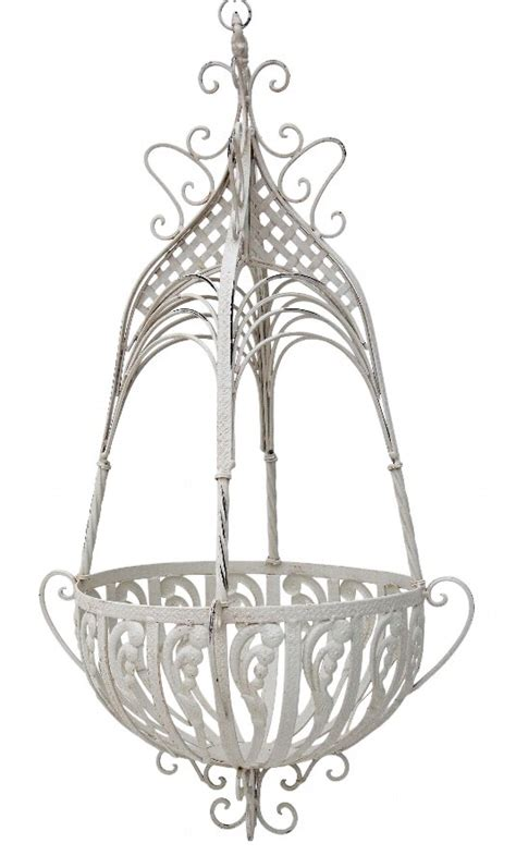 Wrought Iron Hanging Planters by Antique Modern Large Wrought Iron Steel Hanging Basket