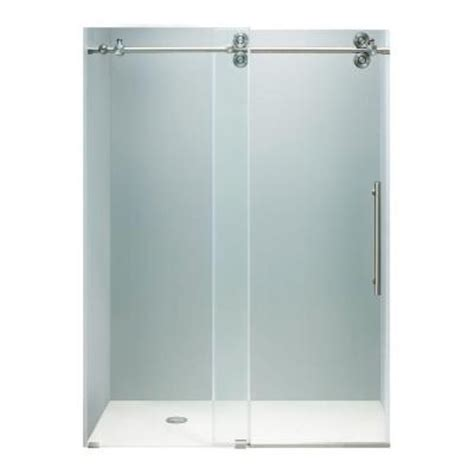 Bypass Shower Doors Frameless Vigo 60 In X 74 In Frameless Bypass Shower Door With Stainless Steel And Clear Glass