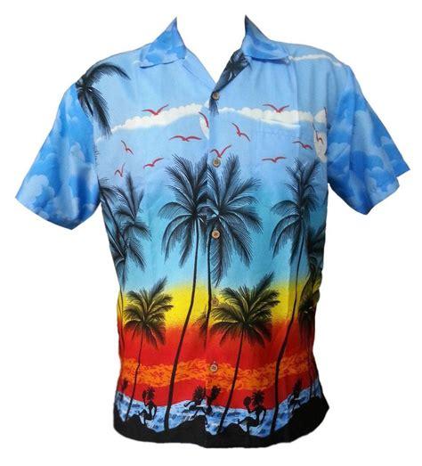 hawaiian shirt hawaiian shirt mens coconut tree print skyblue c aloha polyester ebay