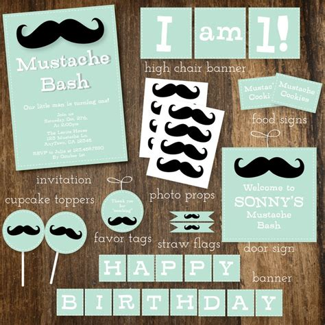 Mustache And Bow Tie Baby Shower by Mint Mustache And Bow Tie Baby Shower Or