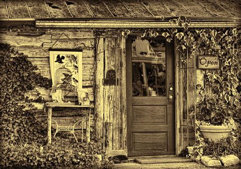 Log Cabin Shop by Salado Log Cabin Shop Sepia Photograph By Phelps