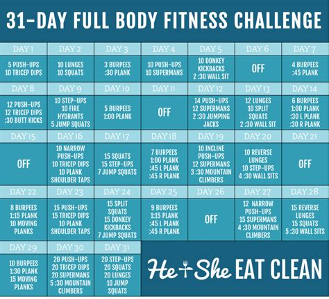 30 day exercise challenge for 31 day fitness challenge he she eat clean