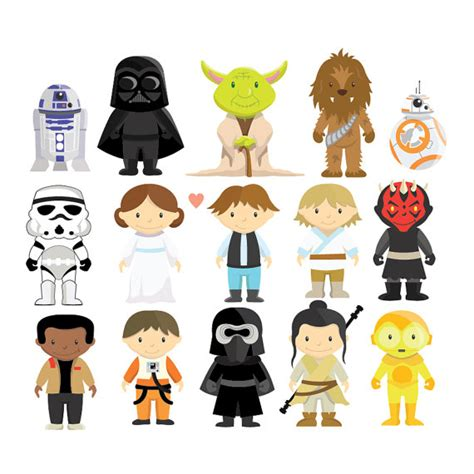 printable star wars characters star wars clipart vector set instant download personal