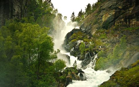 high mountains waterfall trees wallpapers high mountains