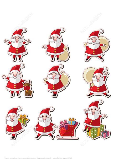 Printable Santa Stickers   printable santa claus stickers free printable papercraft