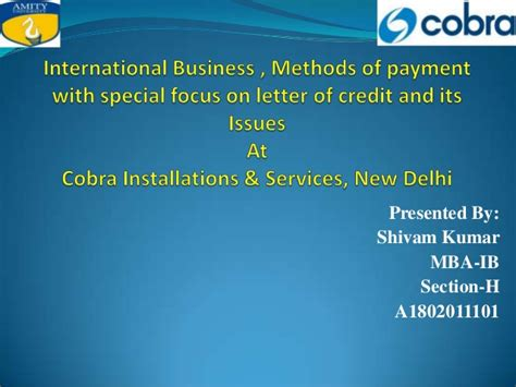 Letter Of Credit Meaning Ppt Presentation Summer Internship Report Shivam Kumar Sec H Letter Of Cr