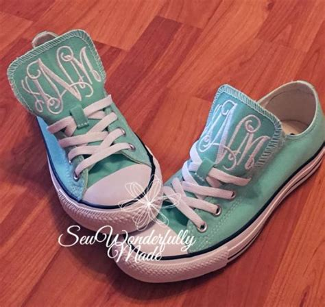 monogrammed mint converse monogrammed wedding day shoes