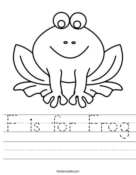 f is for frog worksheet twisty noodle