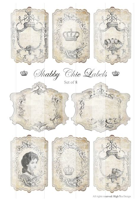 shabby chic labels gift tags ephemera idealpin