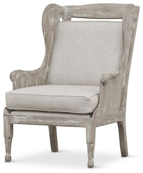 coastal accent chairs normandy coastal solid carved wood white wash grey wing