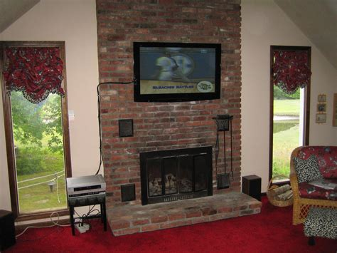 mount tv brick fireplace durham ct mount tv above fireplace home theater installation
