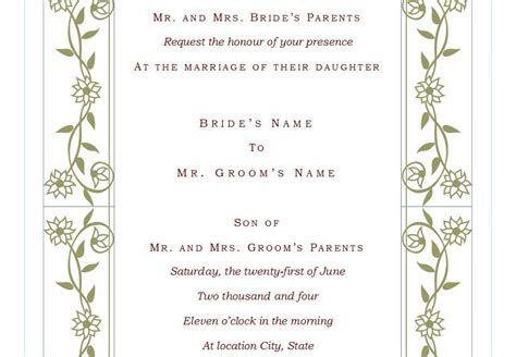 bridal invitations templates wedding invitation template free wedding invitation template