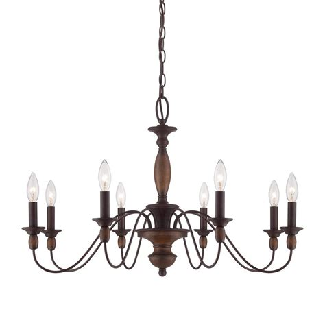 Brown Chandelier Shop Cascadia Lighting Holbrook 29 In 8 Light Tuscan Brown Williamsburg Candle Chandelier At