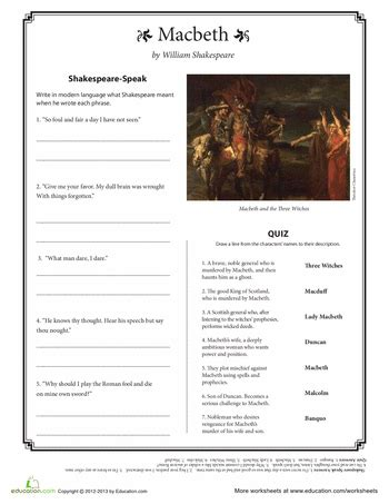 macbeth themes handout macbeth quotes macbeth quotes worksheets and shakespeare